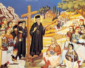 Ο Άγιος Κοσμάς ο Αιτωλός, διδάσκων τον λαό